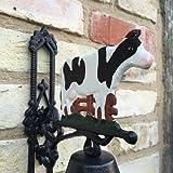 Antikas - Ländliche Gartenglocke, kunsthandwerkliche Türglocke klangvoll, Glocke mit Kuh