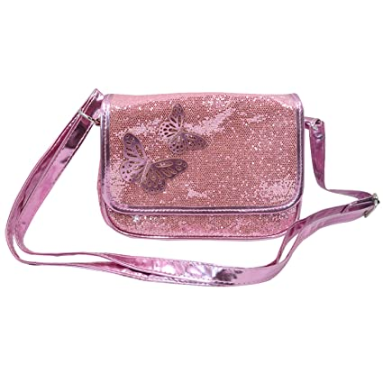 fecb95db84 Amily Girl Glitter Sequins Sparkle Bling Princess Purse Bag Pouch with  Butterfly Decoration (Pink Crossbody