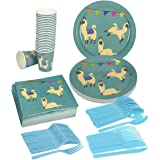 Llama Party Supplies – Serves 24 – Includes Plates, Knives, Spoons, Forks, Cups and Napkins. Perfect Llama Birthday Party Pack for Kids Llama Animal Themed Parties.