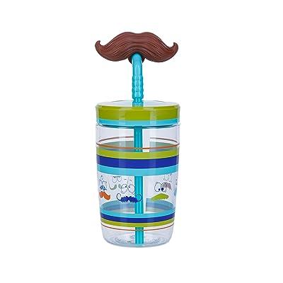 Bueno Funny Straw Mustache Kids Bottle Garçon, Electric Blue, S