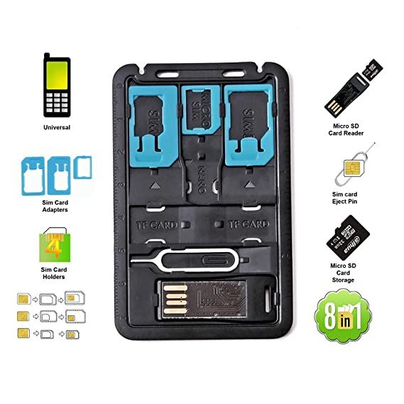 Sd Card Sizes >> Amazon Com All In One Credit Card Size Slim Sim Adapter Kit With Tf