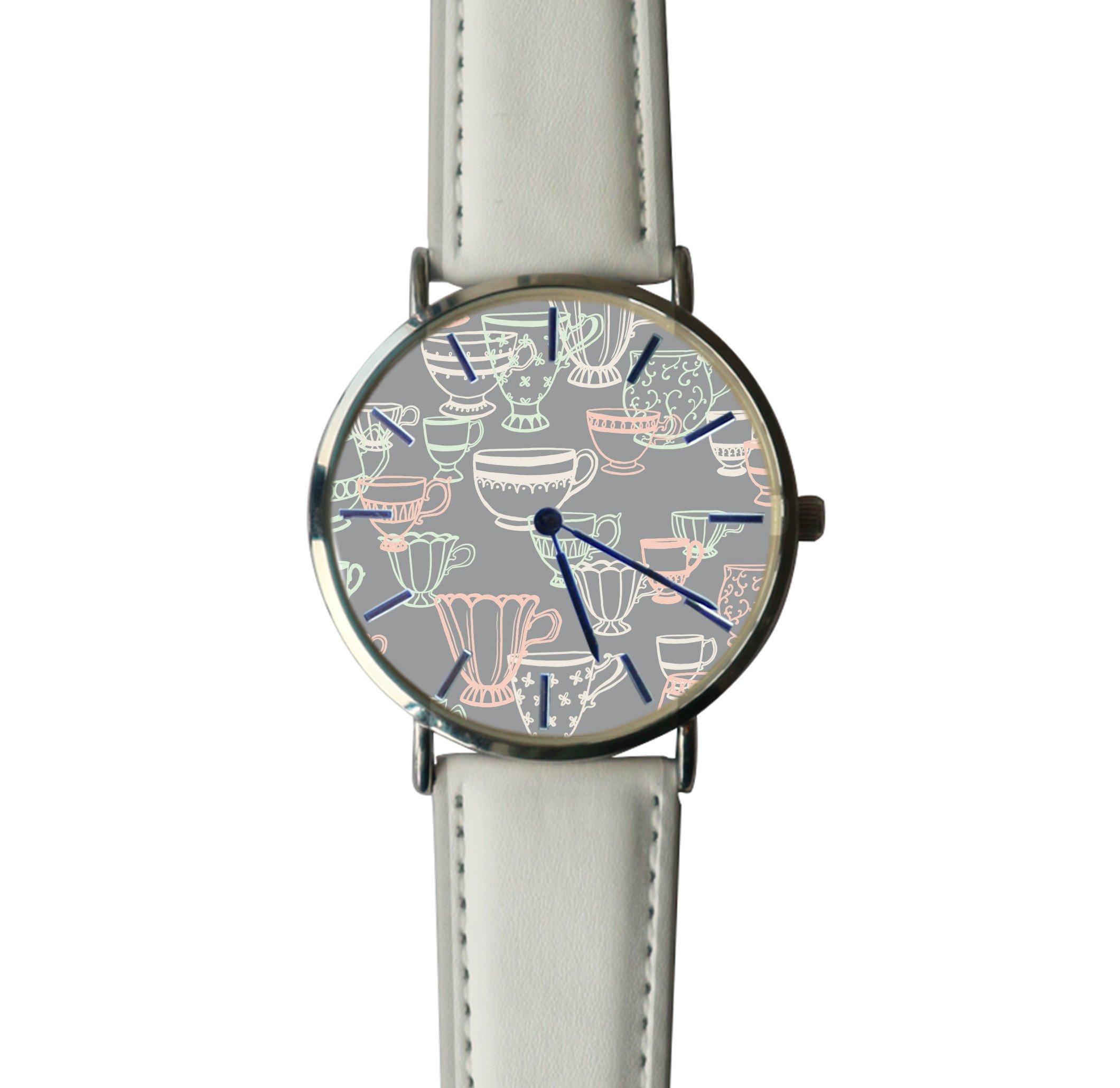 JISJJCKJSX Gray Teacup custom watches quartz watch stainless steel case