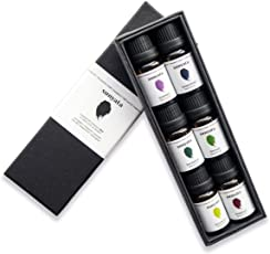 100% Pure Essential Oils Set, Therapeutic Grade: Lemongrass, Peppermint, Lavender, Eucalyptus, Bergamot, Tea Tree 6 pack: For Aromatherapy Diffusers, Skincare, Allergy Relief | by Sunyata