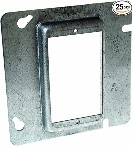 "4-11//16/"" Square Finished Electrical Box Cover 1//2/"" Raised 2 Single Receptacle"