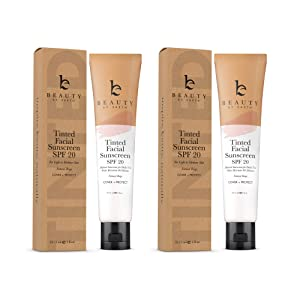 Tinted Sunscreen for Face - SPF 20 With Natural & Organic Ingredients Broad Spectrum Sunblock Lotion, Tinted Moisturizer Zinc Oxide Sunscreen Face for Skincare, Facial Sunscreen (Light Beige 2pk)