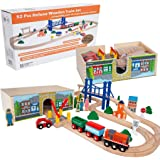 Orbrium Toys 52 Pcs Deluxe Wooden Train Set with 3 Destinations Fits Thomas, Brio, Chuggington, Melissa and Doug…
