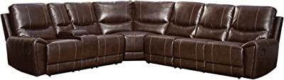 Homelegance 4 Piece Bonded Leather Sectional Reclining Sofa with Cup Holder Console, Brown