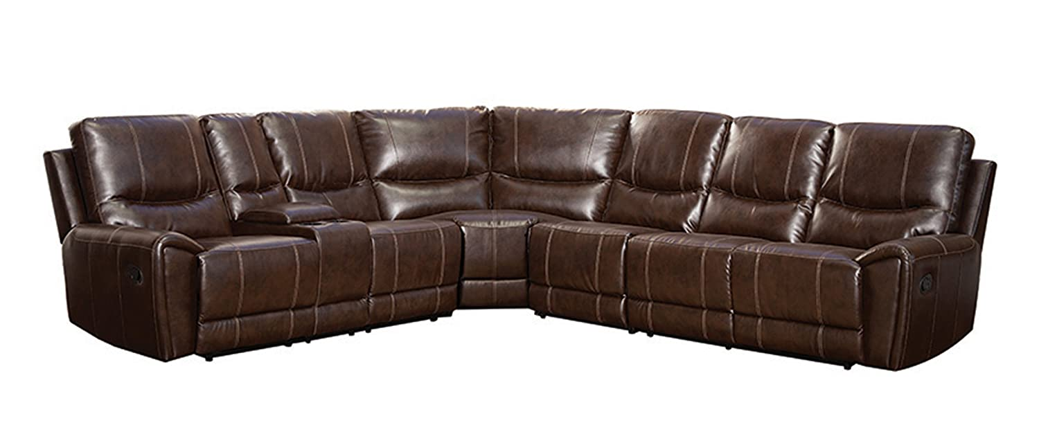 Amazon.com: Homelegance 4 Piece Bonded Leather Sectional Reclining Sofa  With Cup Holder Console, Brown: Kitchen U0026 Dining
