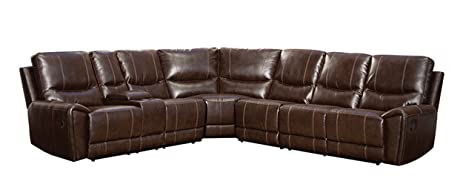 Homelegance 4 Piece Bonded Leather Sectional Reclining Sofa with Cup Holder Console Brown  sc 1 st  Amazon.com : sectional recliner sofa with cup holders - Sectionals, Sofas & Couches
