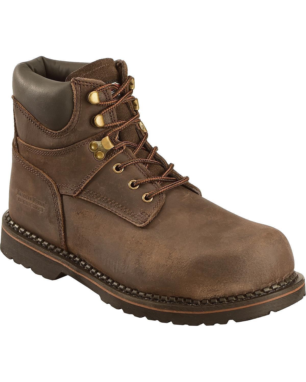 American Worker Men's 6'' Steel Toe Work Boot Dark Brown 9.5 W