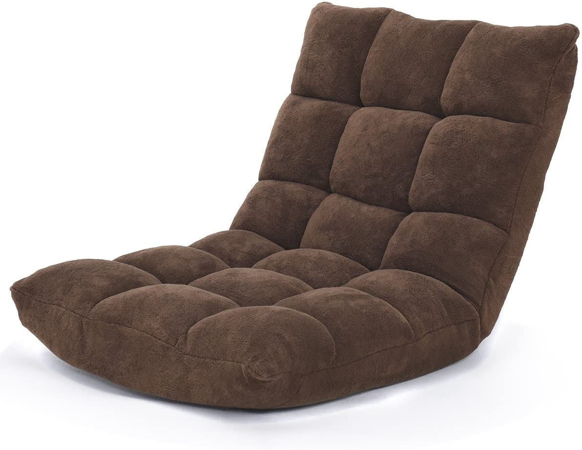 Giantex 14-Position Floor Folding Gaming Sofa Chair Lounger Folding Adjustable Sleeper Bed Couch Recliner Brown