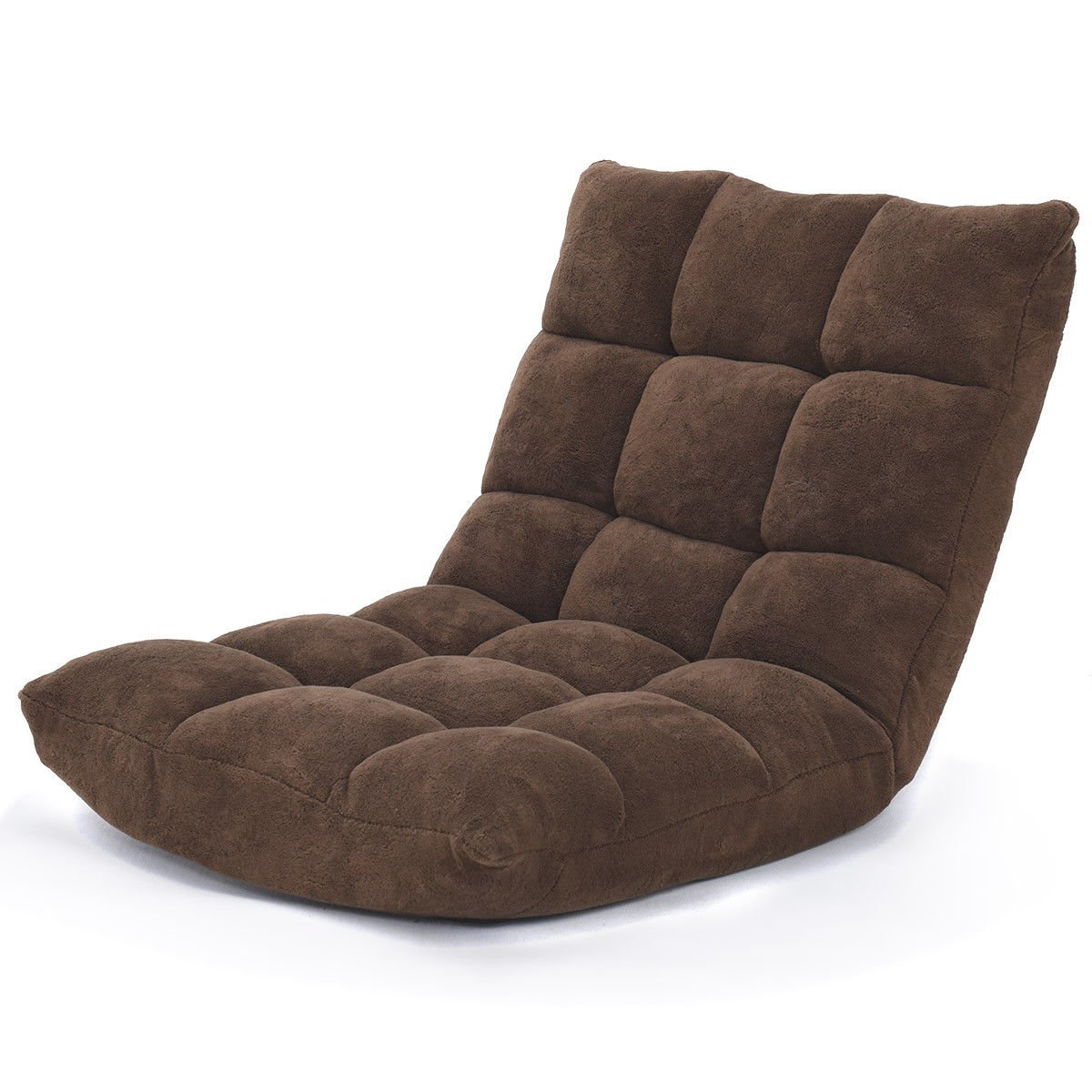 Giantex 14-Position Floor Folding Gaming Sofa Chair Lounger Folding Adjustable Sleeper Bed Couch Recliner (Brown) by Giantex