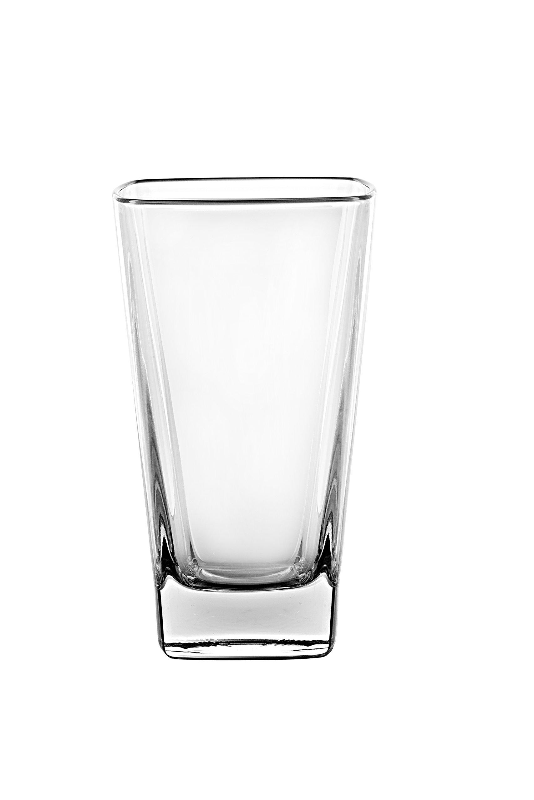 Barski - European Glass - Hiball Tumbler- Square - 13.5 oz. - Set of 6 Highball Glasses - Made in Europe