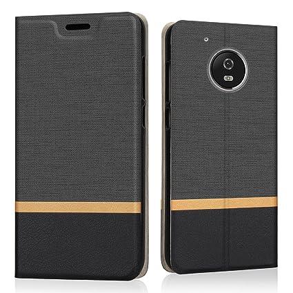 Funda Motorola Moto G5 Plus, Riffue Carcasa PU Delgada de Estilo Vaquero Protectora de Folio Flip Case para Moto G5 Plus - Negro