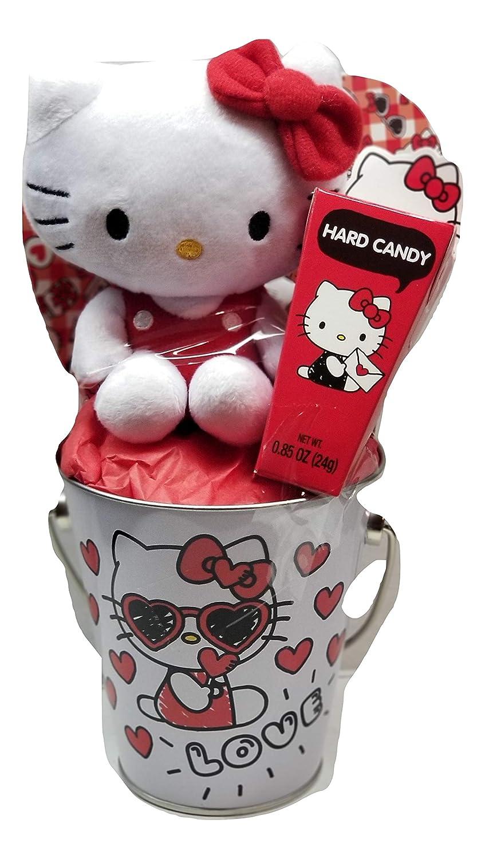 b99b86bdf Amazon.com: Hello Kitty Valentine's Day Metal Tin Bucket and Hard Candy - 3  Items: Health & Personal Care