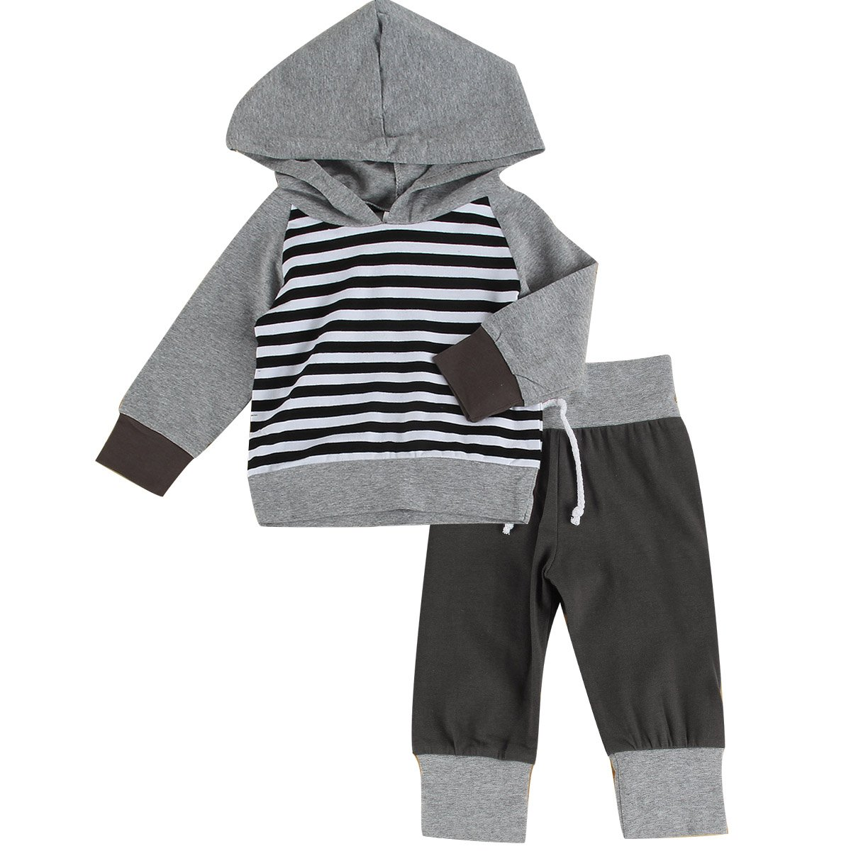 Puseky Baby Boys Grils Striped Hooded Sweatshirt & Pants Tracksuit Outfits Set (6-12 Months, Grey)