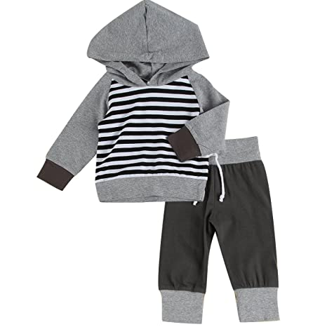 puseky bebé niños Grils Rayas sudadera con capucha & Pantalones ...
