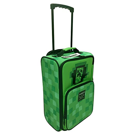 "JINX Minecraft 16"" Creepy Creeper Easy Rolling Kids Backpack"