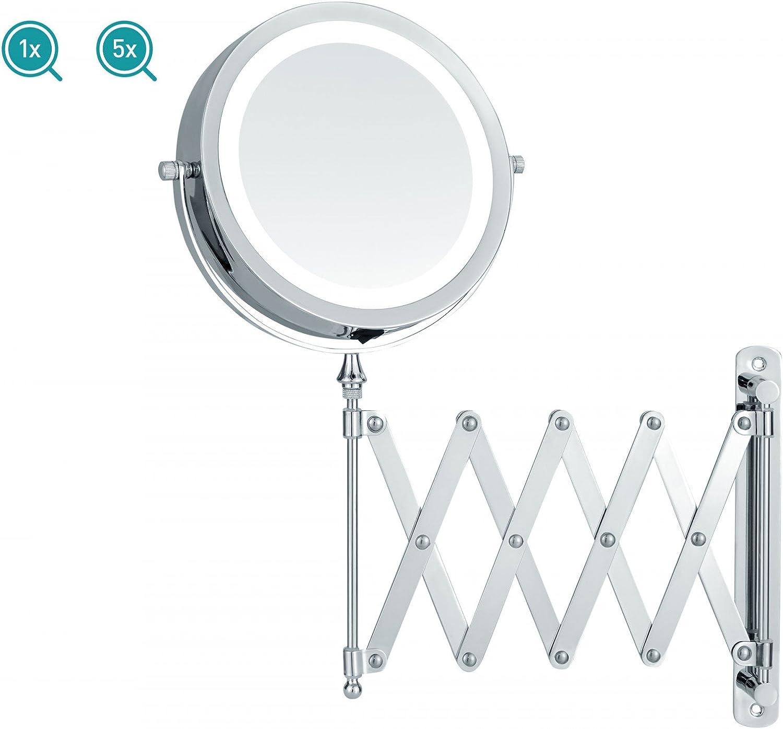 Kosmetikspiegel Led Beleuchtung Batteriebetrieben Scherenspiegel Mit 5 Fach Vergrößerung Wandspiegel Ausziehbar Küche Haushalt