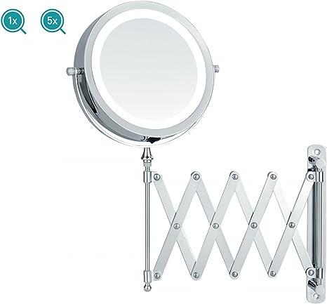 2er Set Magnet Kosmetik Wand Spiegel schwenkbar LED Beleuchtung 5x Vergrößerung