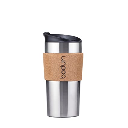 1956c46797d BODUM Travel Mug, Double Wall Stainless Steel 0.35 L 11068-109s, Stainless  Steel, Stainless Steel, Cork, 9 cm