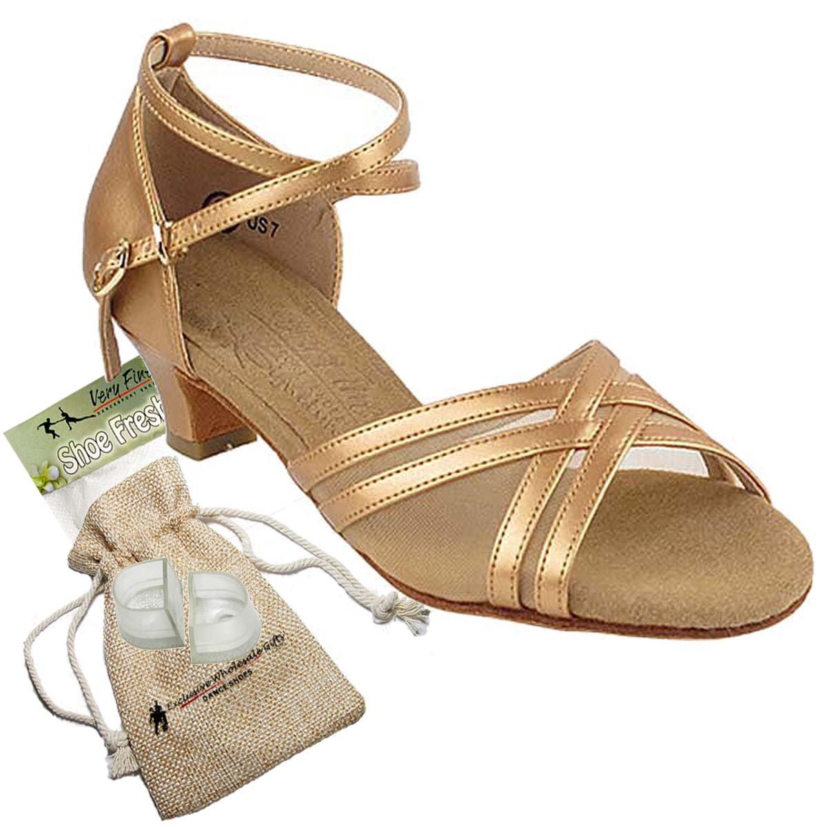Women's Ballroom Dance Shoes Salsa Latin Practice Dance Shoes Copper Nude Leather S9204EB Comfortable - Very Fine 1.2'' Heel 6.5 M US [Bundle 5]