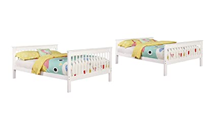Amazon Com Coaster Full Over Full Bunk Bed In White Kitchen Dining