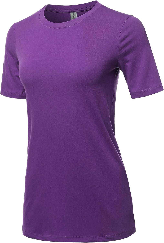 Womens Basic Solid Premium Cotton Short Sleeve Crew Neck T Shirt Tee Tops S-3XL