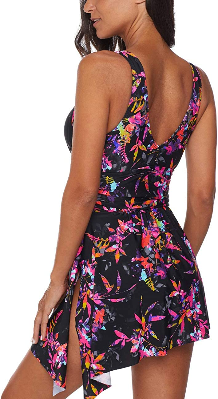 Asvivid Women Tankini Dress Retro Polka Dot Print Handkerchief Hem Tankini Set Swimwear