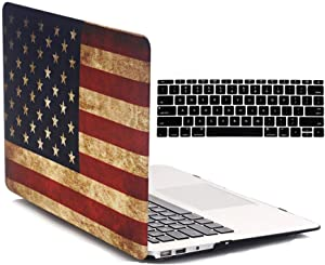 Old MacBook Air 13 Inch Case A1466/A1369 Release 2017/2015/2014/2013/2012/2011/2010, iZi Way National Flag Hard Shell Folio Cover for Mac Air 13 with Black Keyboard Skin - Retro American Flag