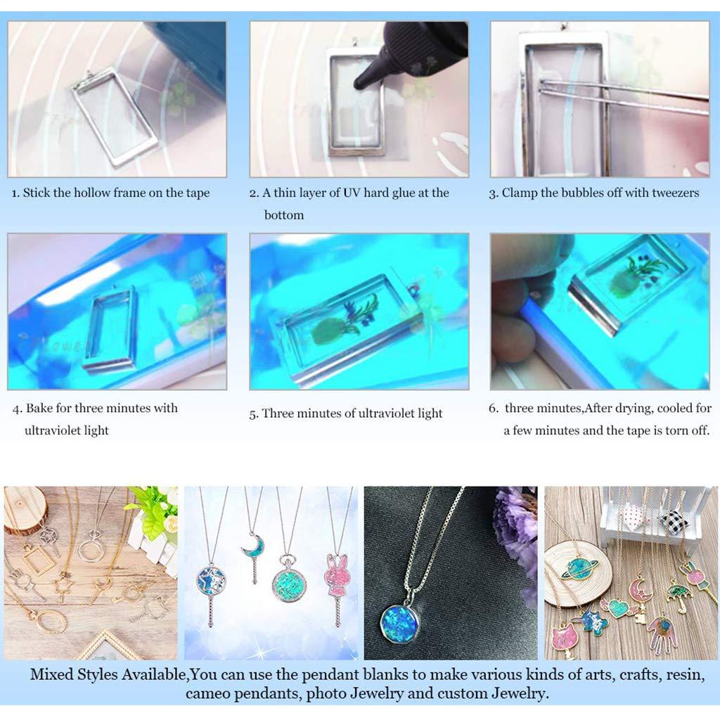 25mm Ronde Rouge Tropical Alliage Lunette Ouverte Cadre Blanc Creux Moule Pendentifs pour R/ésine UV Artisanat Fabrication de Bijoux Wanfor 5 Pcs Pendentif Plateau