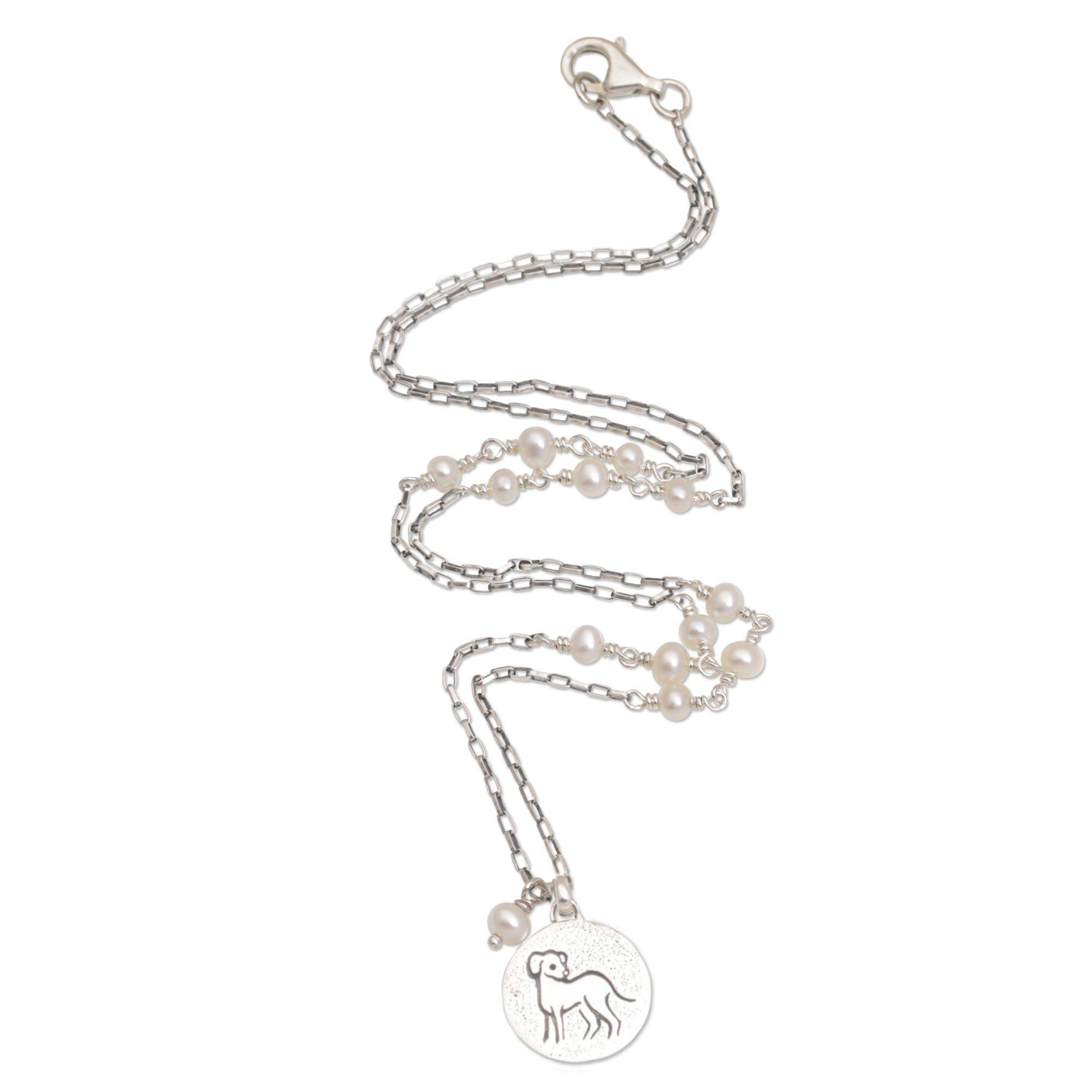NOVICA Silver White Cultured Freshwater Pearl .925 Silver Necklace, 17.25'', Happy Dog'