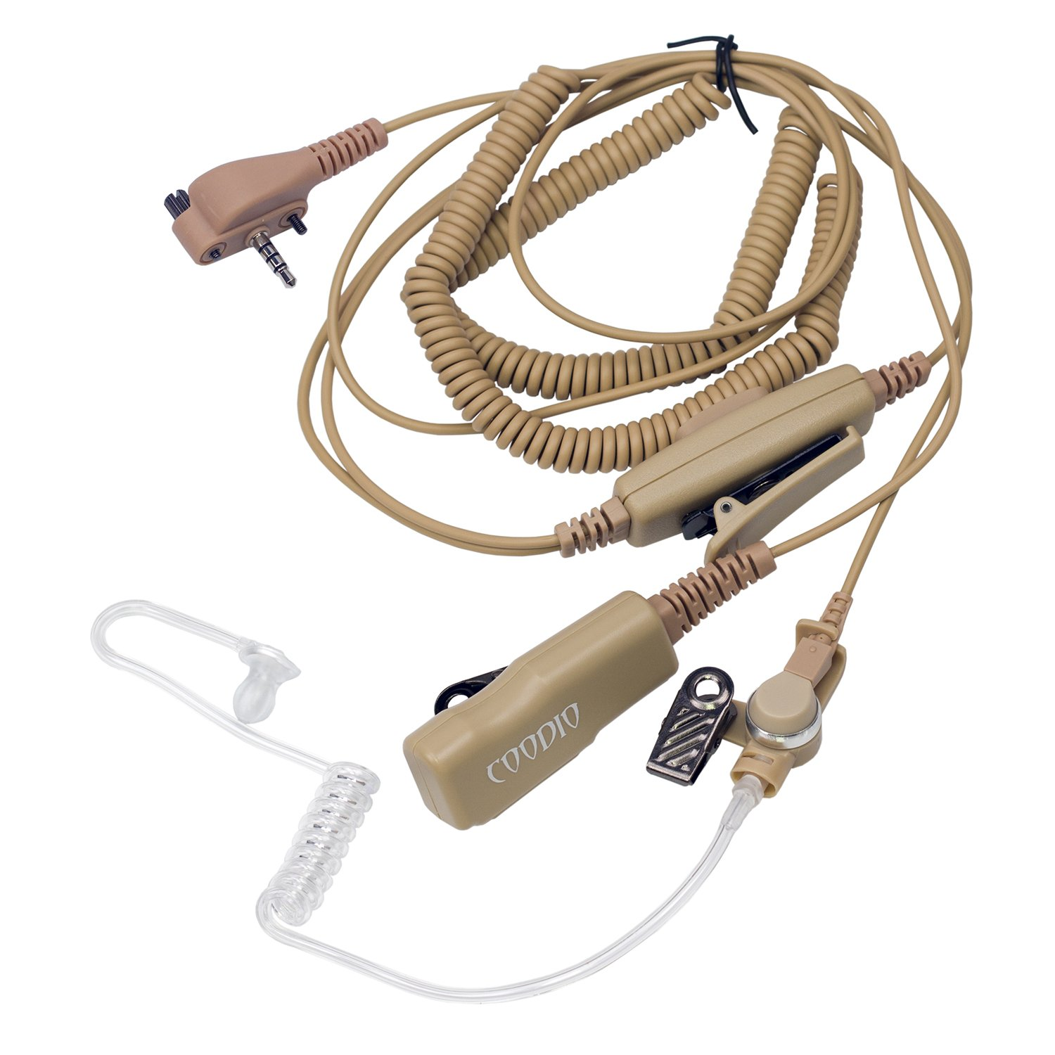 Double PTT Beige Coodio Superior Surveillance Earpiece Security Headset Bodyguard FBI VX-241 2 Way Radio CDO-Y241-012A3-2PTT-BG Mic Microphone For Vertex Standard EVX-531 Covert Acoustic Tube