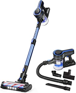 APOSEN Cordless Vacuum Cleaner, Upgraded 18000pa Stick Vacuum 5 in 1 with 250W Powerful Brushless Motor, Detachable Battery Lightweight Quiet for Deep Cleaning H251 Blue … (Blue)