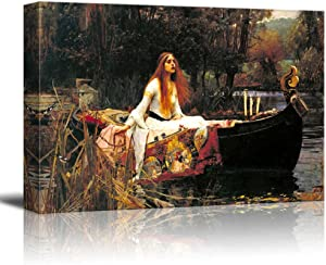 """wall26 The Lady of Shalott by John William Waterhouse Famous Fine Art Reproduction World Famous Painting Replica on ped Print Wood Framed - Canvas Art Wall Art - 24"""" x 36"""""""