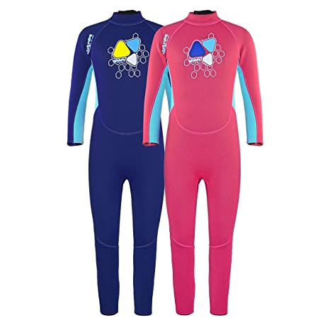 9dbd266873e Layatone Wetsuit Kids Premium 2mm Neoprene Wetsuit Girl Boy Full Body  Diving Suit Back Zipper One Piece Swimsuit Keep Warm Thermal Full Wetsuit  Child Youth ...