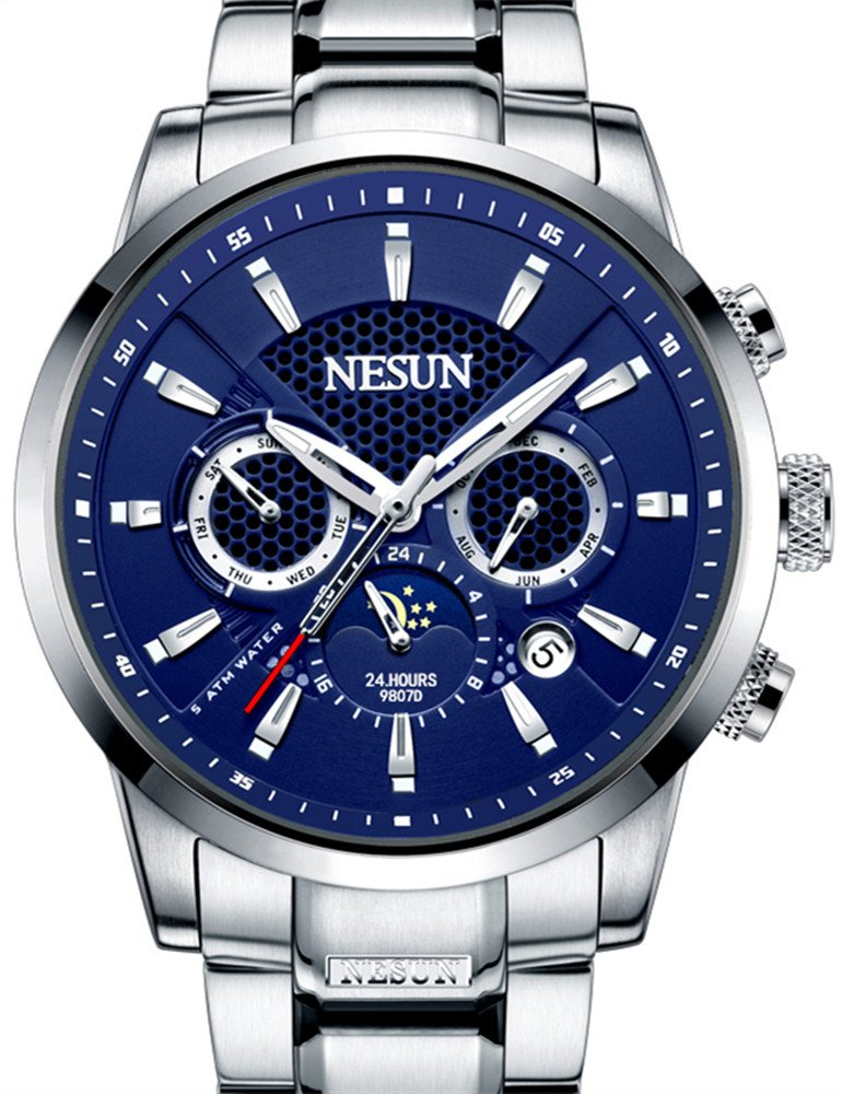 Men's Business Mechnicial Self Wind Calendar Analog Classic Full Stainless Steel Wrist Watches Sports (Blue Dial-Silver) by NESUN