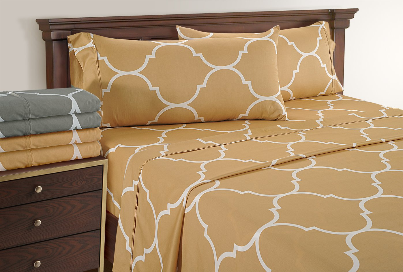 Linenwalas Full Size Bed Sheets - Quatrefoil Pattern Bedding for Teen Girls | 300 Thread Count | Printed Soft Sheets With Deep Pocket Sale ( Gold, Full)