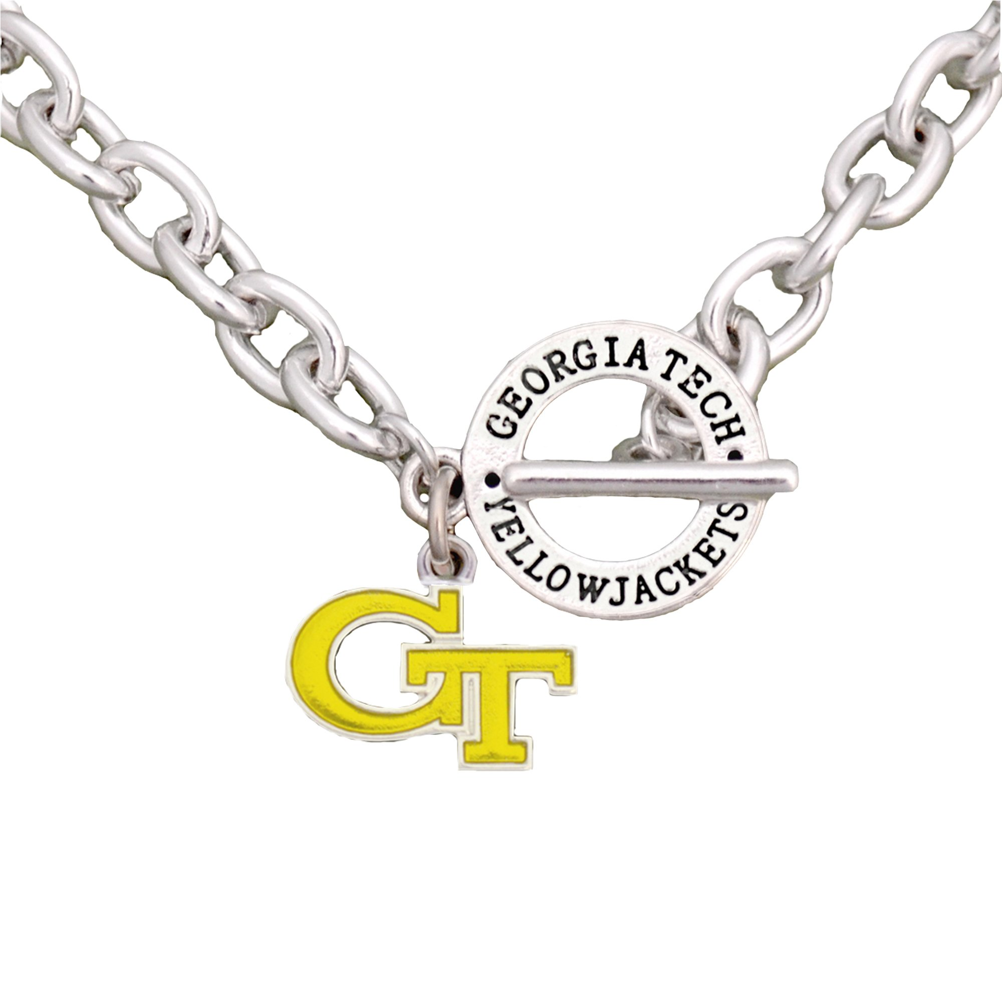 Sports Accessory Store Georgia Tech Yellow Jackets Team Name Toggle Silver Necklace Charm Jewelry GTU