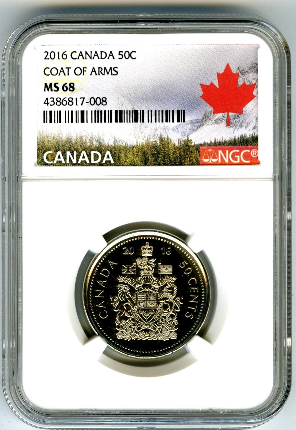 CANADA 2016 New 50 cents Coat of Arms of CANADA BU directly from mint roll