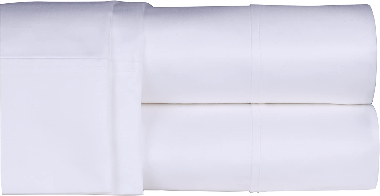 Threadmill Home Linen 300 Thread Count 100% Cotton Sheet Set, Queen Sheets, Luxury Bedding, Queen Sheets 4 Piece Set, Fits Mattresses up to 18 inches deep, Smooth Sateen Weave, White