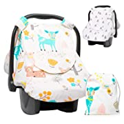 Aylin's Boutique Reversible Car Seat Canopy | Infant Car Seat Cover for Boys or Girls | Beige CarSeat Canopy Covers | Baby Nursing Cover with Snap Window-Flap