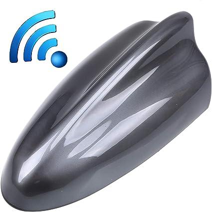 Black POSSBAY Auto Car Shark Fin Aerial Car Antenna Radio Roof Aerial AM FM Universal Waterproof Shark Fin Antenna