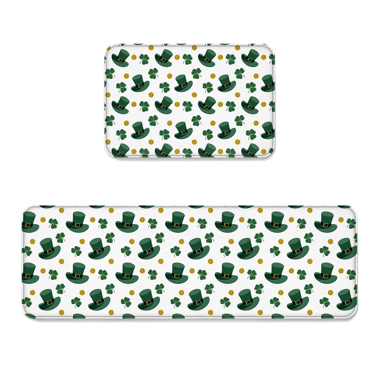 Spt-004fsr7900 23.6\ Kitchen Rug Sets 2 Piece Floor Mats Rubber Backing Area Rugs Green Hats Shamrocks gold Coin St. Patrick's Day Decoration Doormat Washable Carpet Inside Door Mat Pad Sets (23.6  x 35.4 +23.6  x 70.9 )