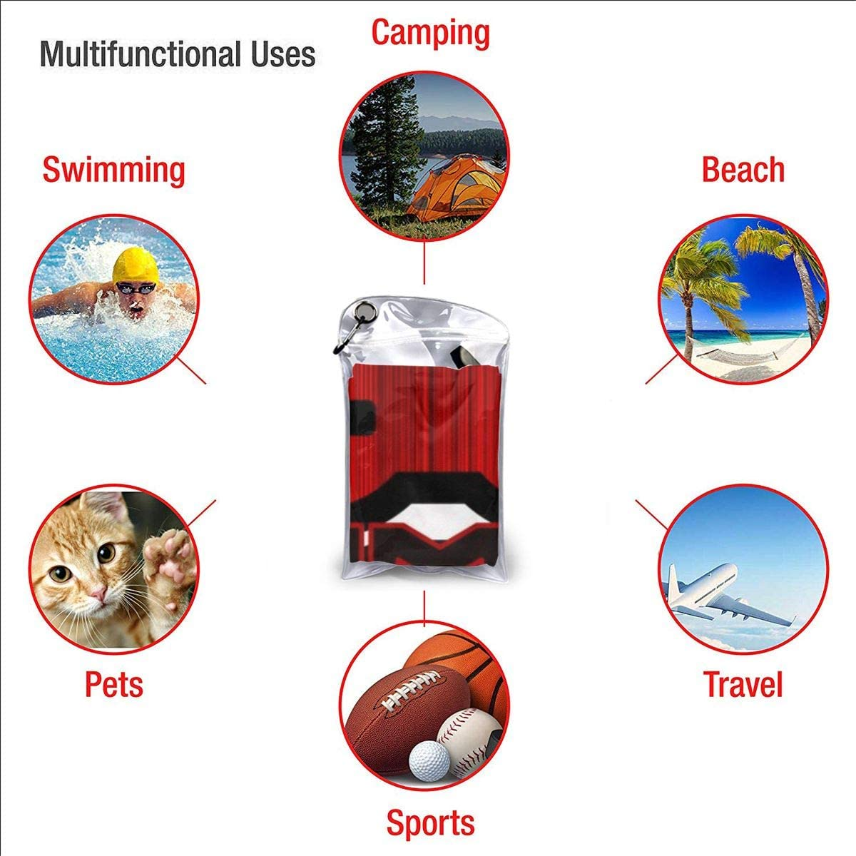 Quick Dry Camping Towels Best Lightweight Travel Towels for The Swimming,Sports,Beach,Gym 31.5x63 Inches Baytor Red Gamer Beach Towel