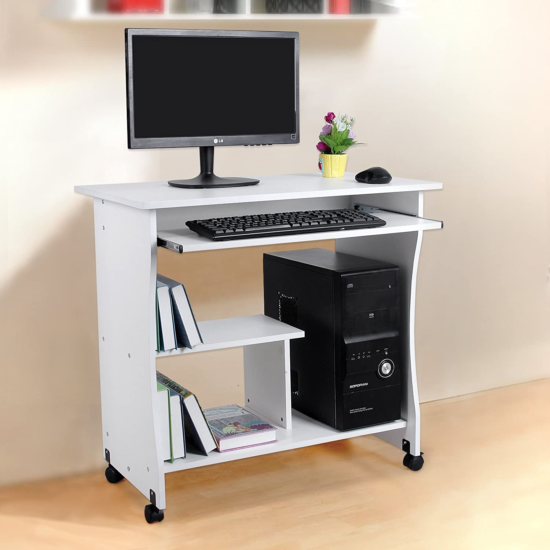 Songmics scrivania porta pc tavolo per computer desk con ripiani ...