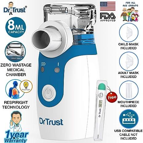 Dr Trust Portable Ultrasonic Mesh Nebulizer Machine Cool Mist