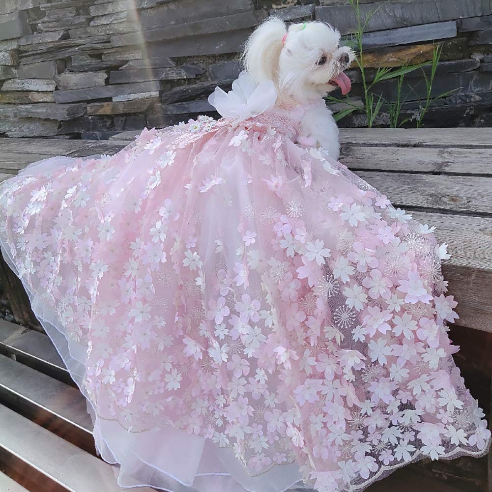 WHZWH Luxury Pink Lace Dog Tutu Dress Pet Wedding Clothes Shirts + Matching Hair Clip, Pink,XS