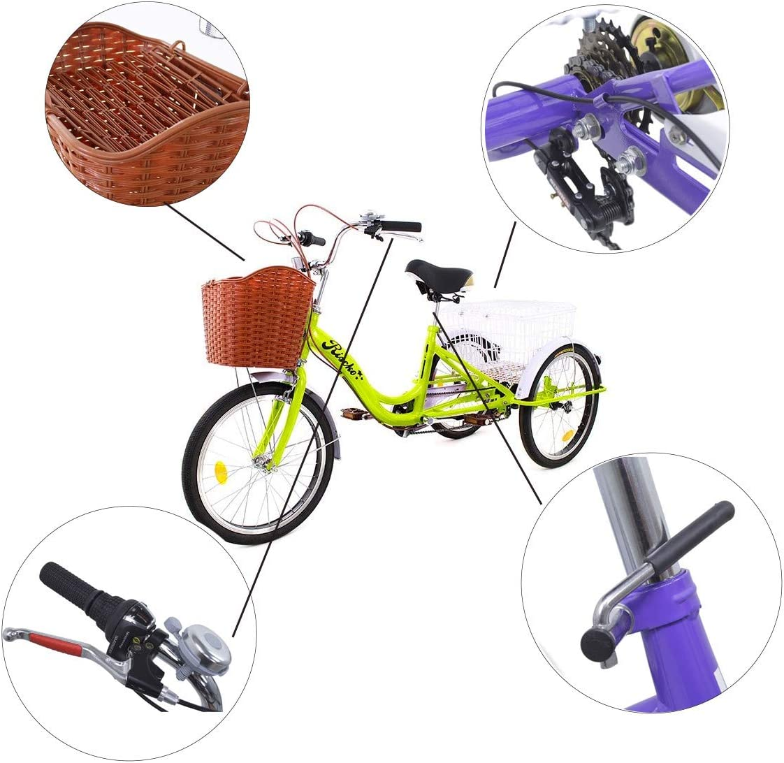 Riscko - Triciclo Adulto con Dos Cestas Bep-14 | Naranja Fluor sin ...