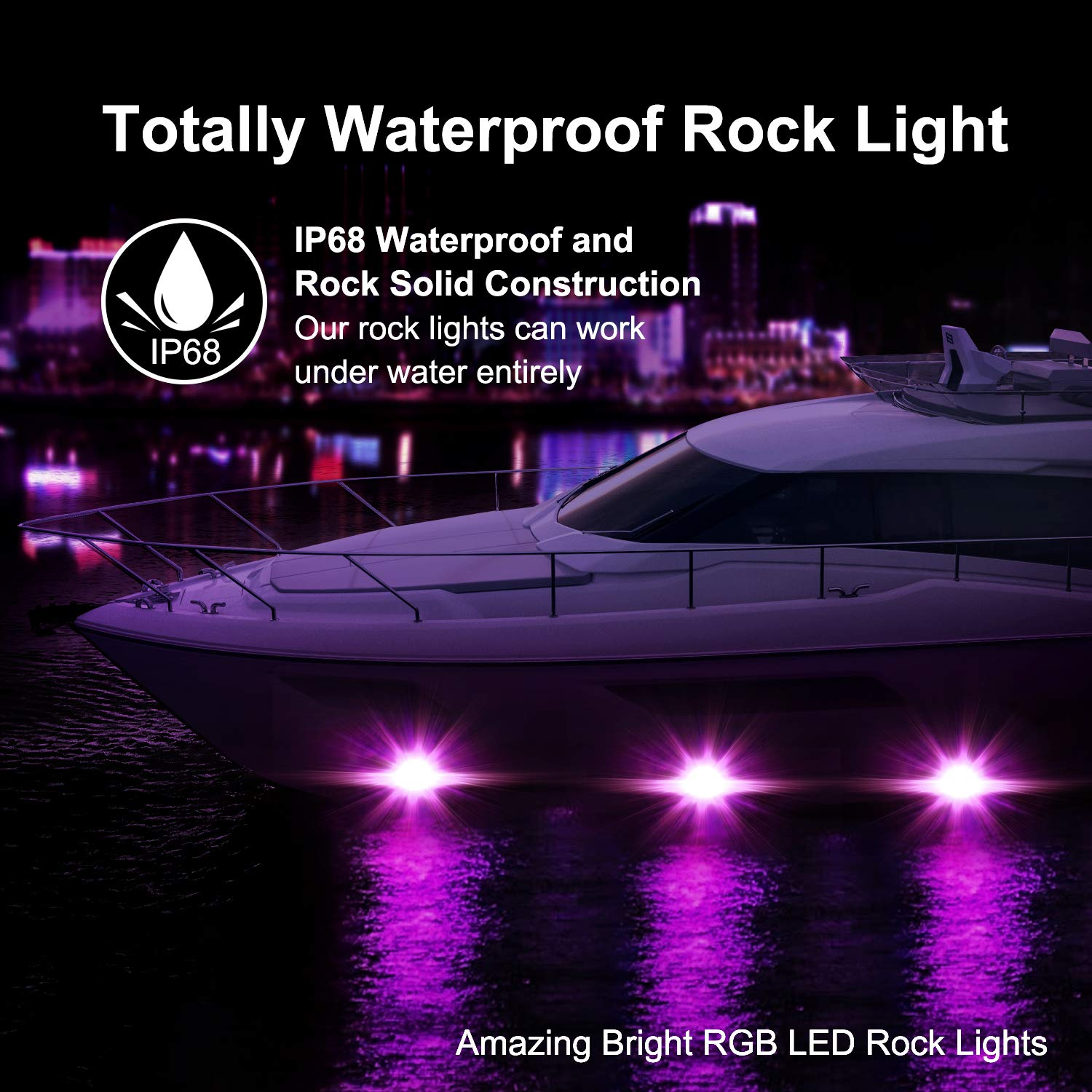 RGB Rock Light Kits OFFROADTOWN RGB LED Rock Lights with 6 pods Lights Neon Trail Rig Lights Underglow Off Road Truck SUV UTV ATV Boat